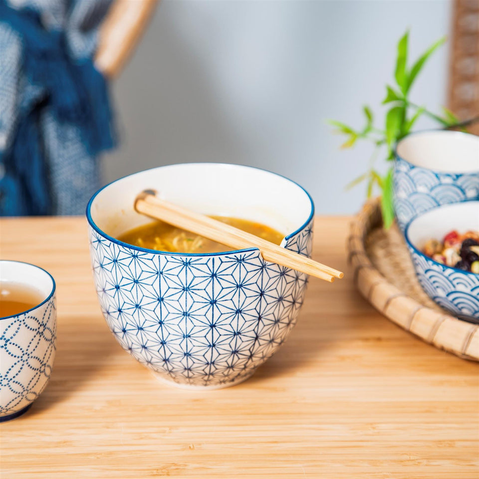 Blue Sashiko Pattern Noodle Bowl with Chopsticks