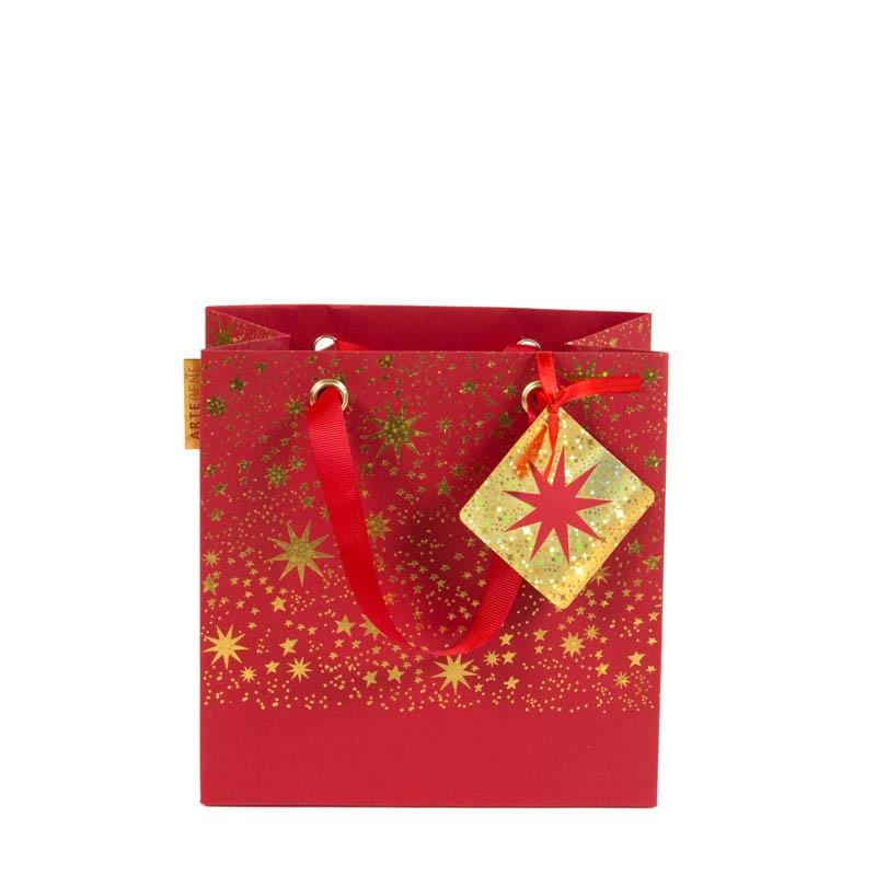 Red & Gold Shimmer Star Square Gift Bag