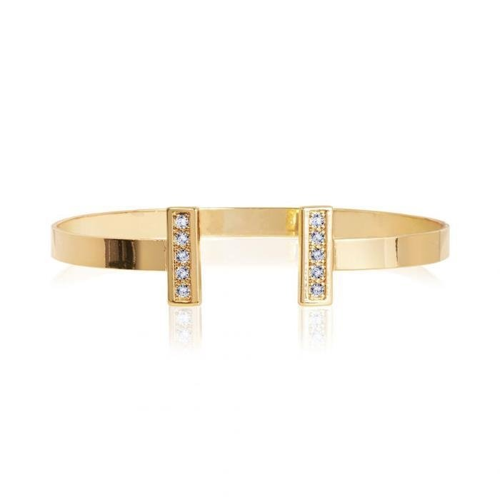 Aztek Yellow Gold Bar Bangle