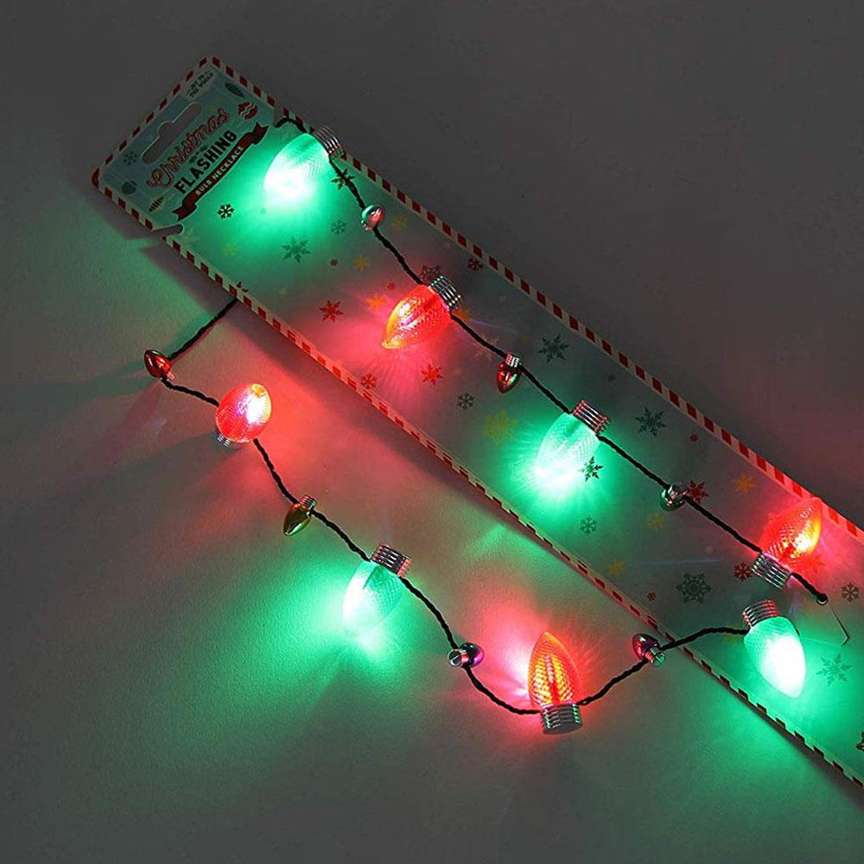 Joy to the World Flashing Red & Green Bulb Necklace