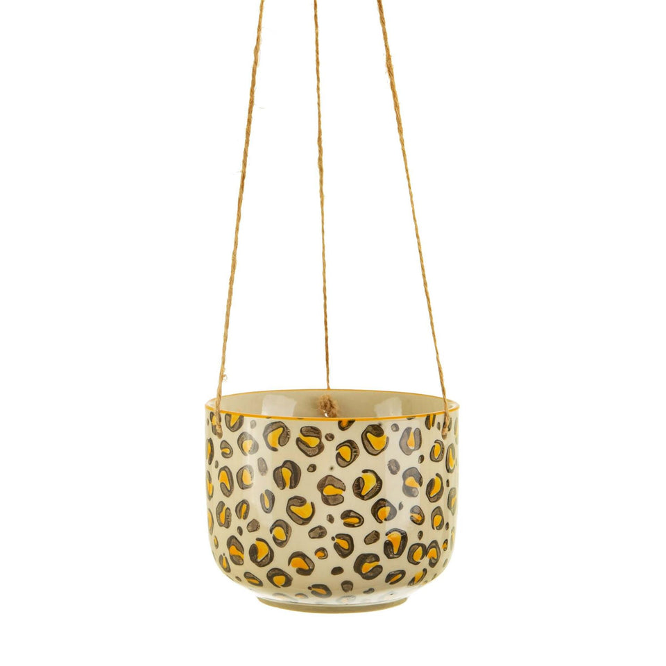 Leopard Love Hanging Ceramic Planter