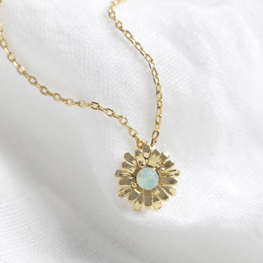 Gold Daisy Necklace with Green Opalite Crystal