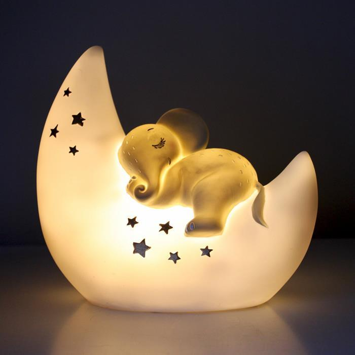 Cute Elephant & Moon Lamp | With UK Plug