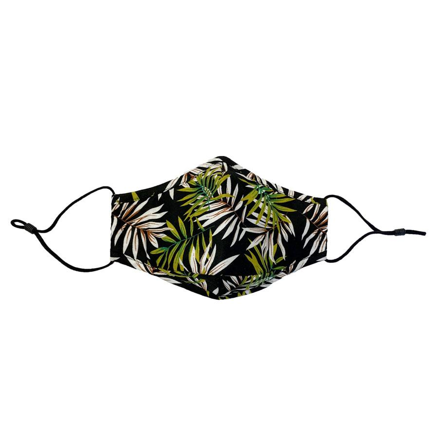 Black & Green Palm Print Reusable Face Mask