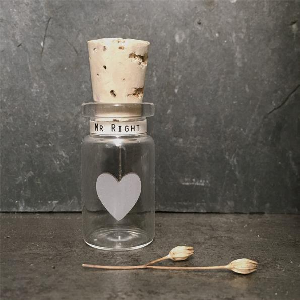 Mr Right Glass Bottle with Heart Decoration