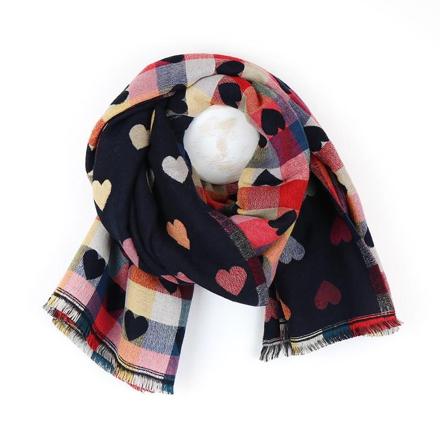 Navy Blue and Colourful Hearts Soft Scarf