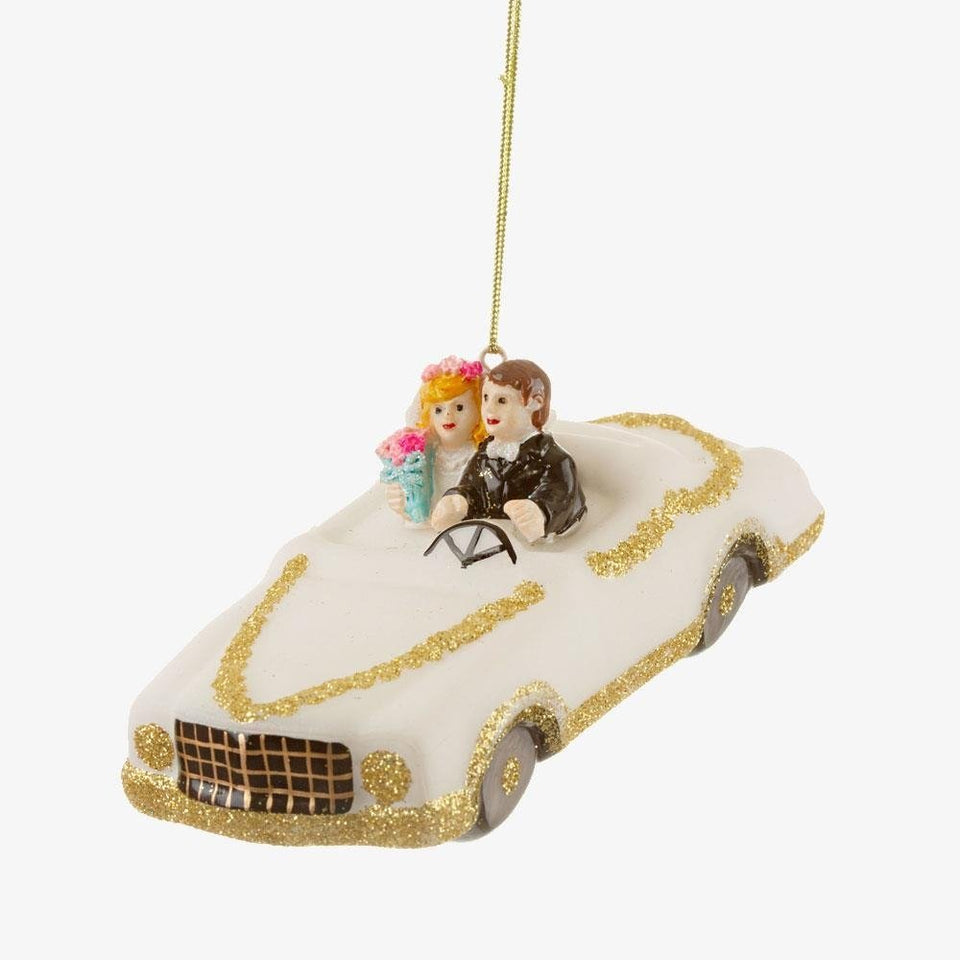 Glitter Wedding Car Shaped Bauble