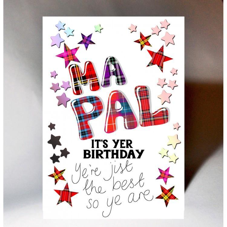 Tartan Words Ma Pal Birthday Card
