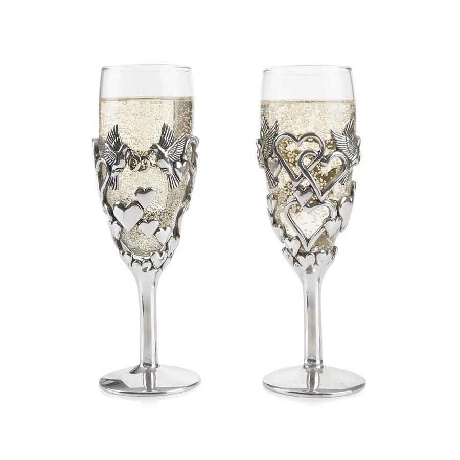 Lovebirds Pewter Champagne Glasses