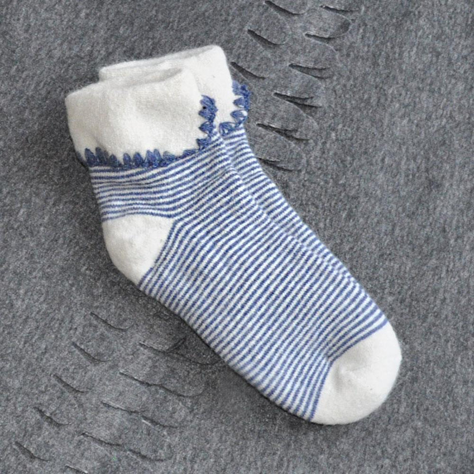 Blue Stripey Wool Blend Ankle Socks