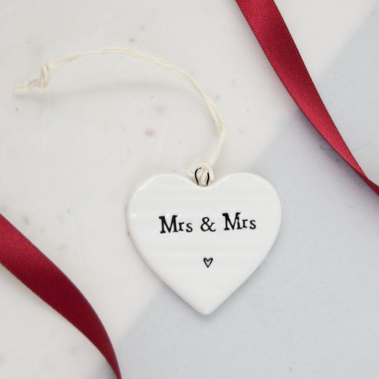 Mrs And Mrs Porcelain Hanging Heart