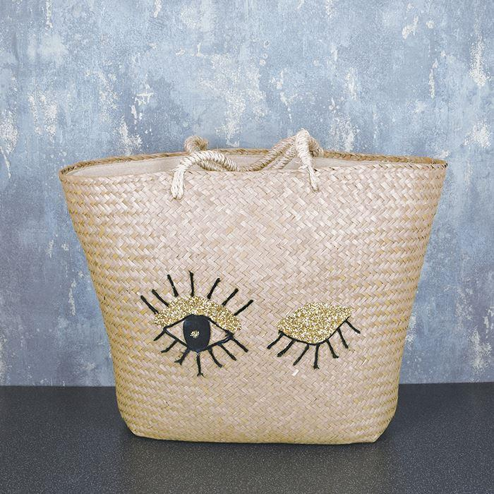 Large Beach Bag with Eyelashes Design