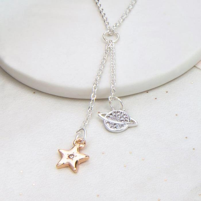 Star and Saturn Y Shape Necklace
