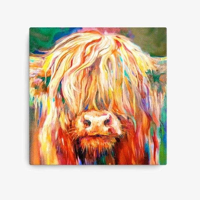 Baby Highland Cow Canvas Art Print