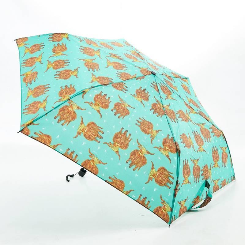 Green Highland Cow Mini Umbrella
