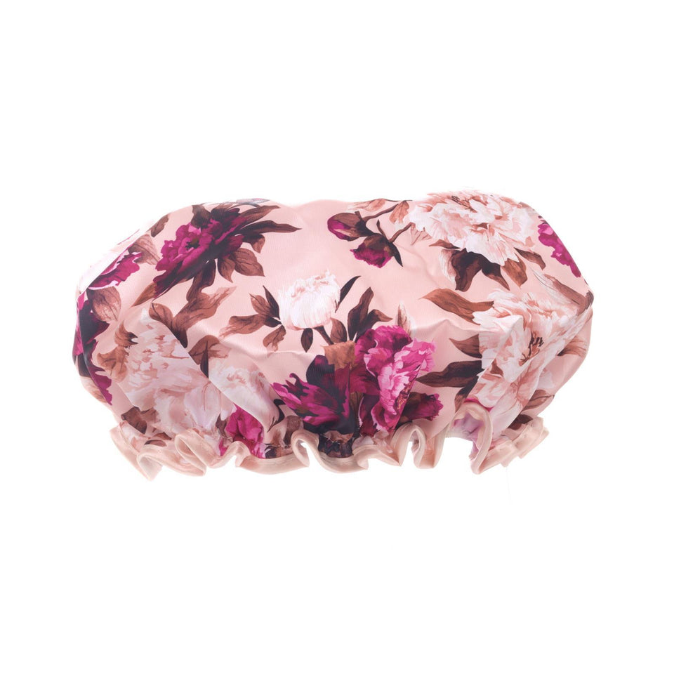 Burgundy Floral Shower Cap