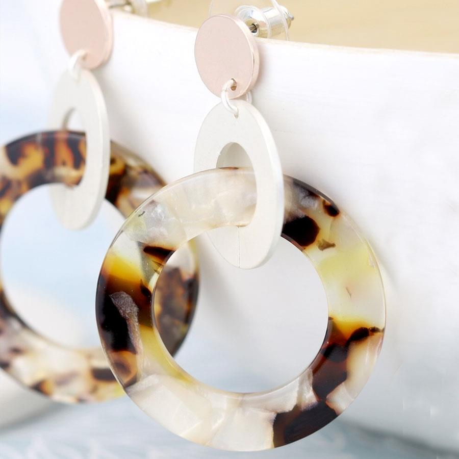 Rose Gold and Brown Resin Disc Earrings