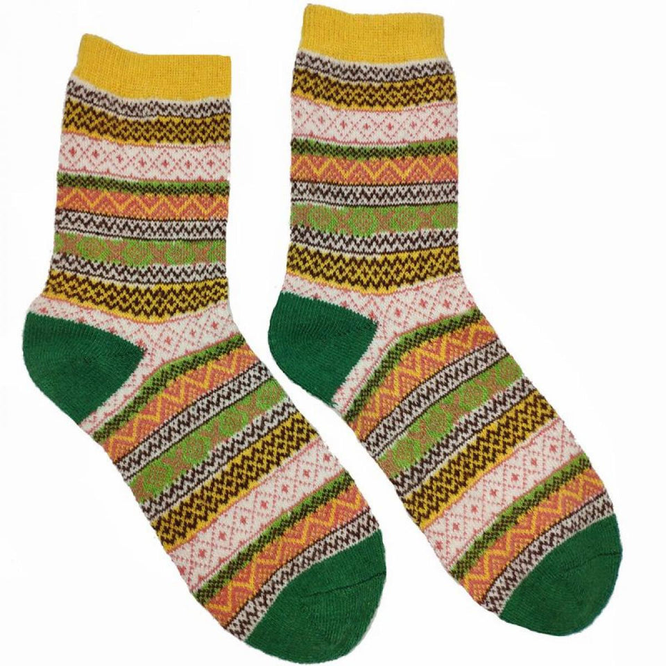 Yellow and Green Shetland Fairisle Wool Blend Socks
