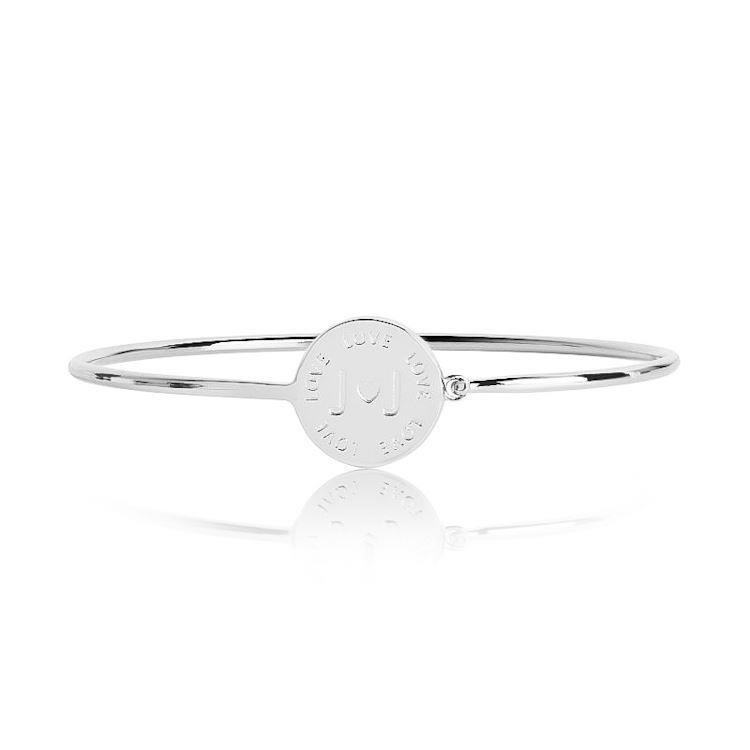 Alphabet Base Silver Bangle