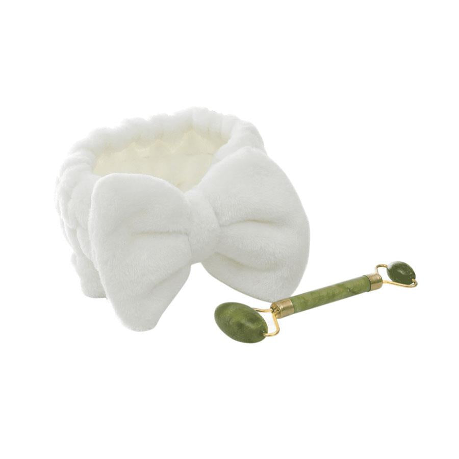 Dual Sided Jade Facial Roller And Plush Headband Set