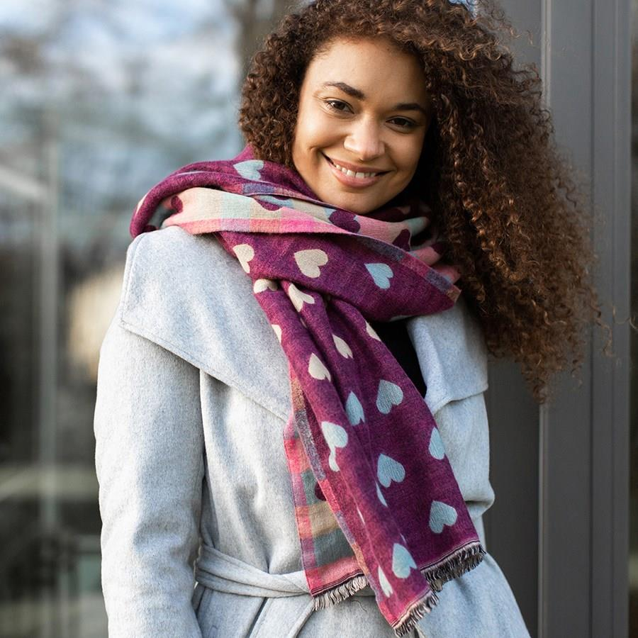 Cherry Multicoloured Pastel Hearts Jacquard Scarf