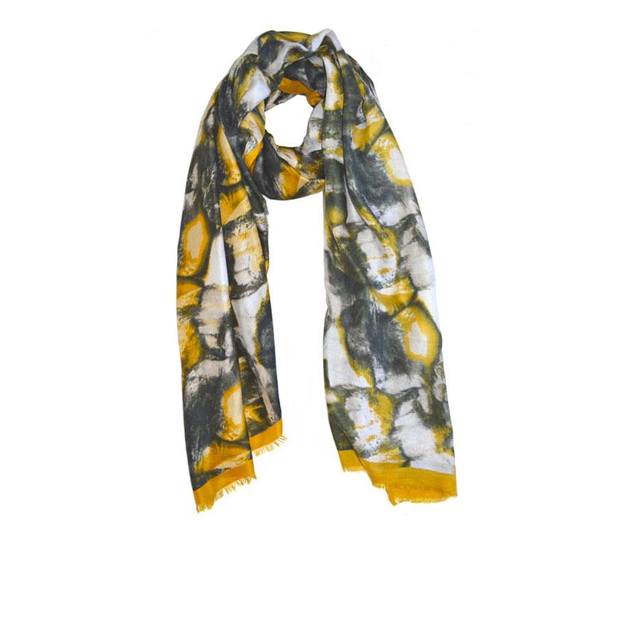 Mustard Abstract Print Scarf