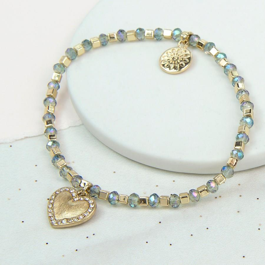 Crystal Heart on Sparkle Bead Bracelet