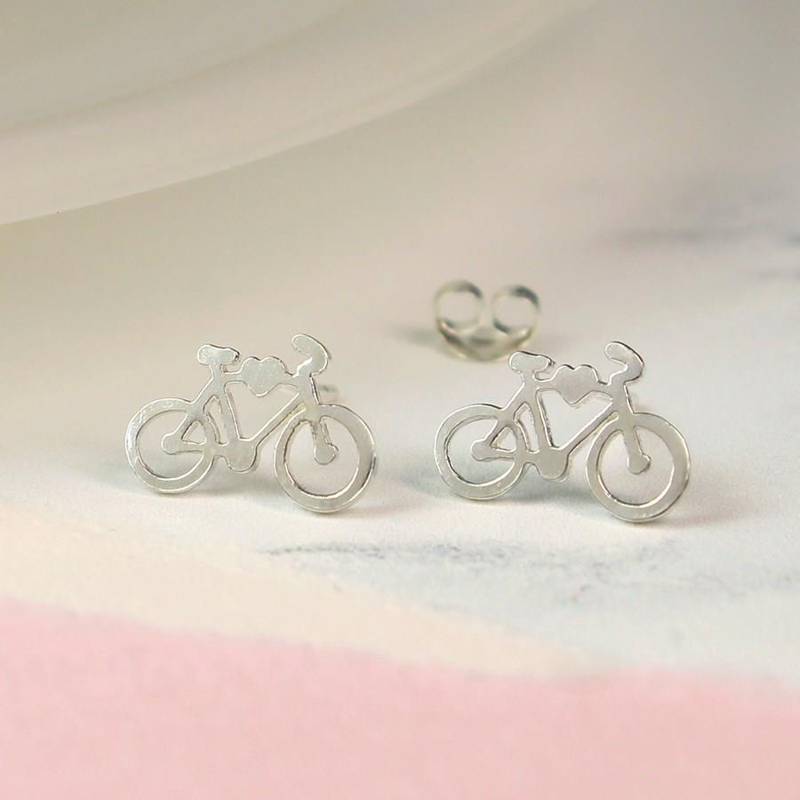 Silver Bike Stud Earrings