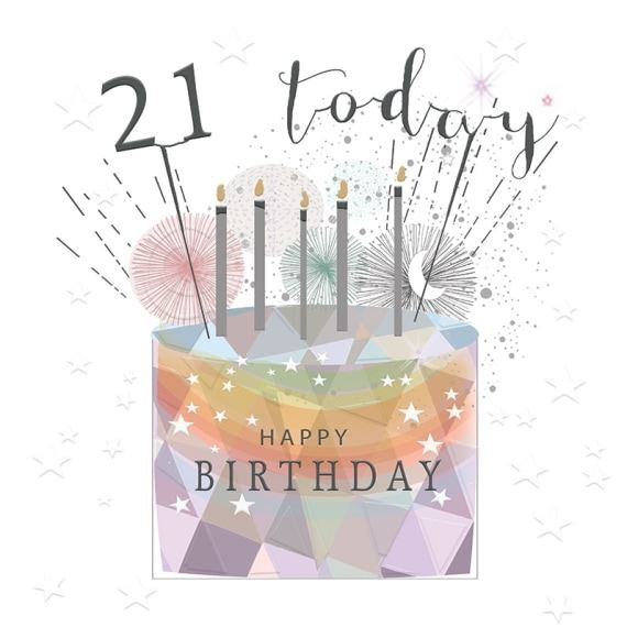 Age 21 Birthday Cake Card