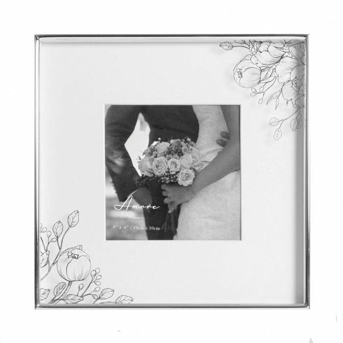 Silver Foiled Floral Wedding Frame