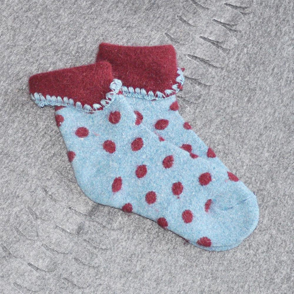 Blue Cuff Socks with Deep Red Spots