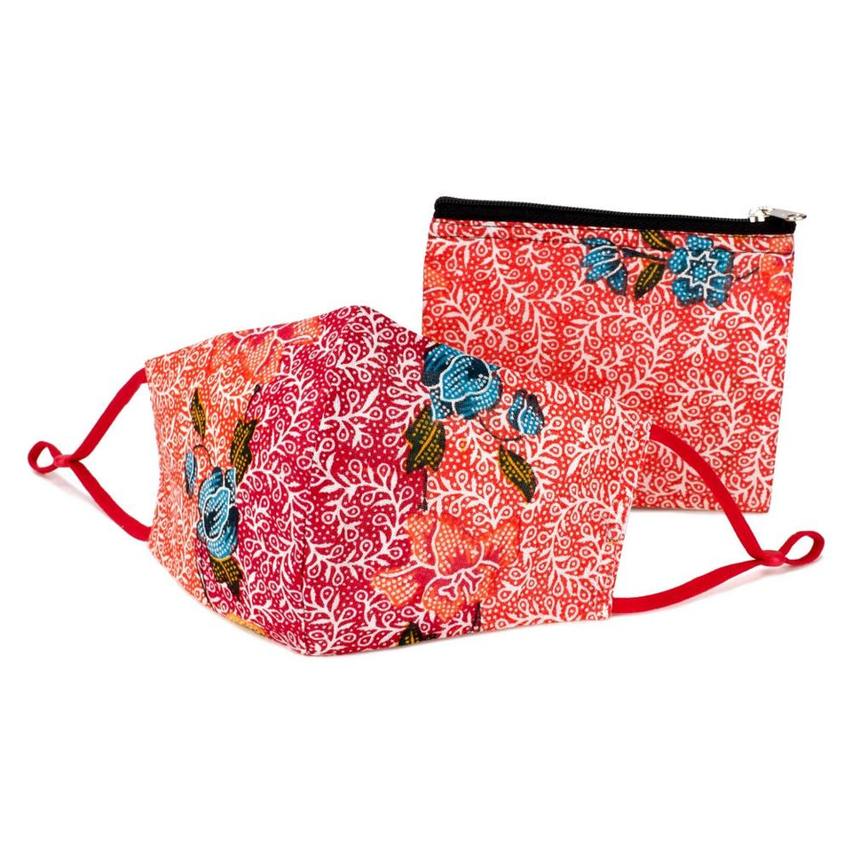 Red Batik Face Mask & Purse Set