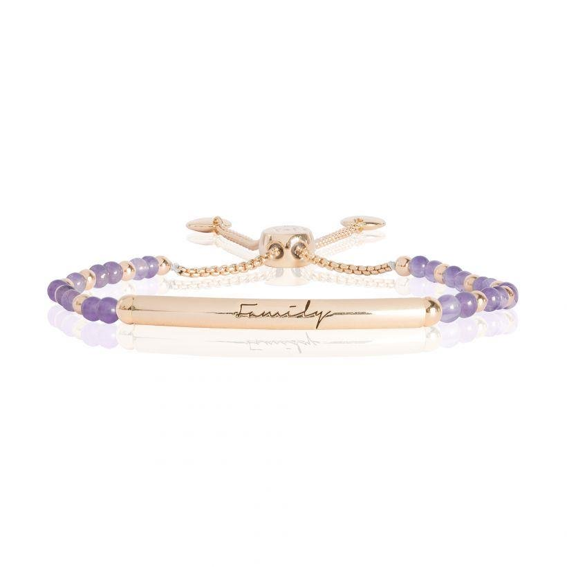 Family Engraved Bracelet with Amethyst Stones