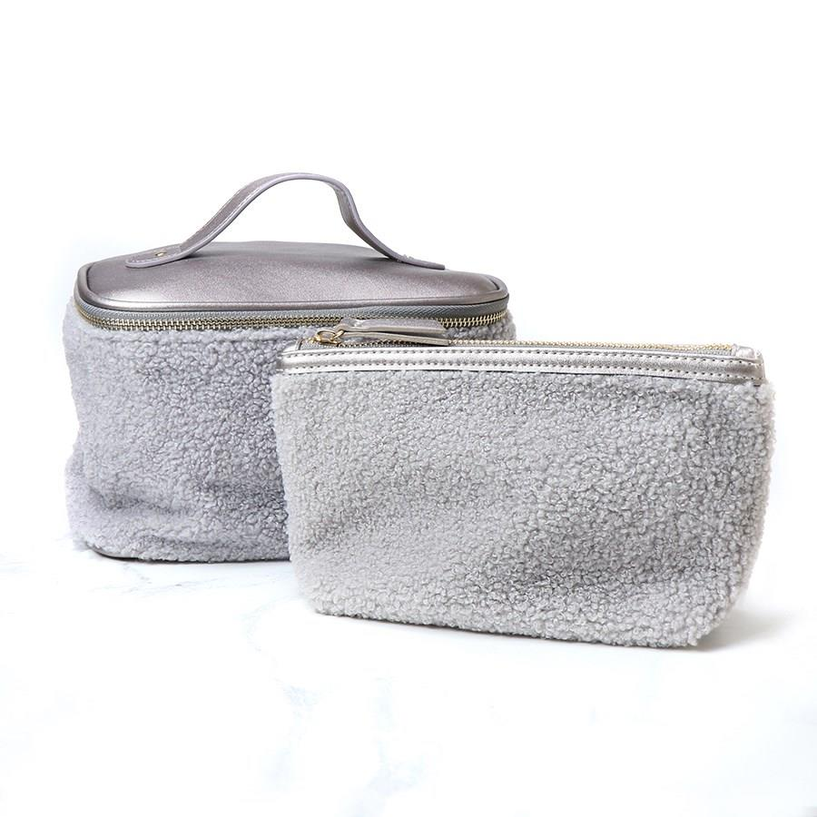 Grey Faux Fur Make Up & Travel Bag Set