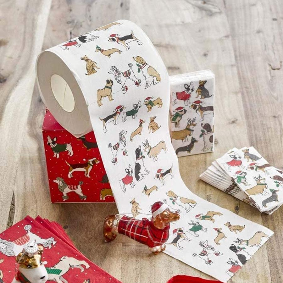 Botanical Christmas Dogs Toilet Paper Roll