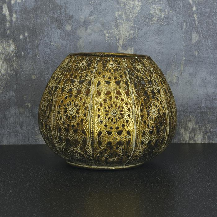 Round Antique Gold Finish Metal Lantern