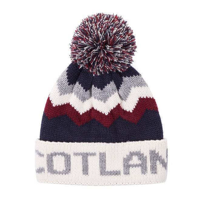Scotland Bobble Hat in Navy, Cream & Oxblood