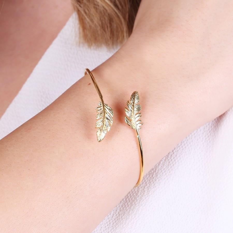 Open Gold Feather Bangle