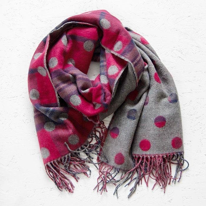 Red & Grey Double Sided Spot & Check Scarf