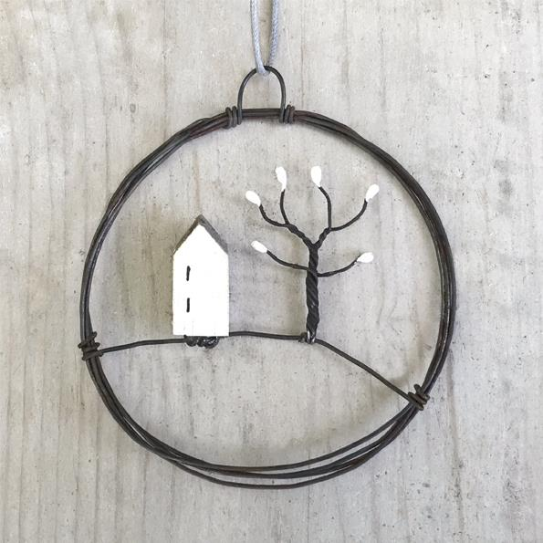 Mini House & Tree Hanging Metal Wreath