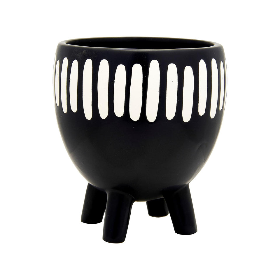 Grooved Monochrome Planter on Legs