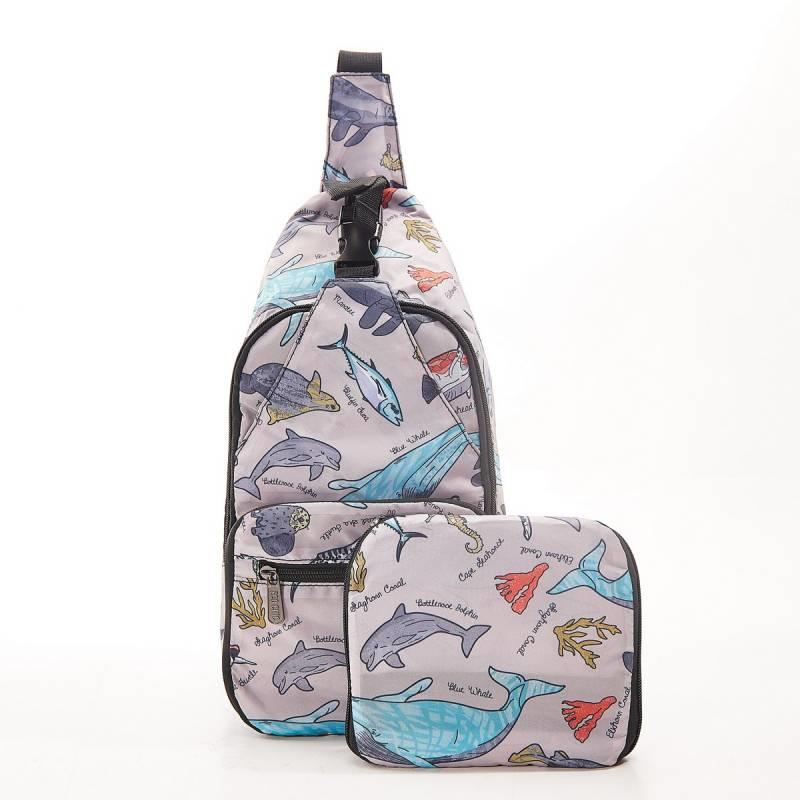 Grey Sea Creatures Cross Body Bag