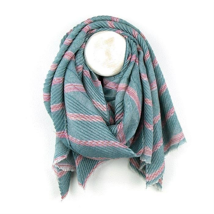 Blue Striped Crinkle Scarf
