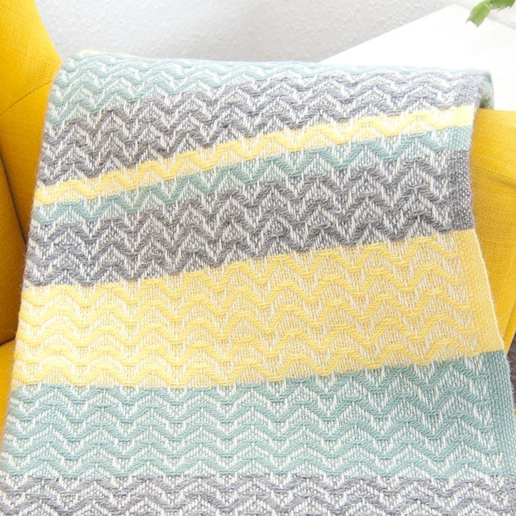 Ripple Pattern Sea Green & Yellow Wool Throw