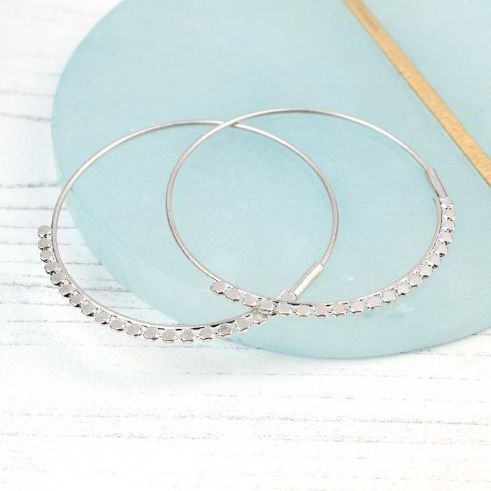 Worn Silver Bobbled Large Hoop Earrings