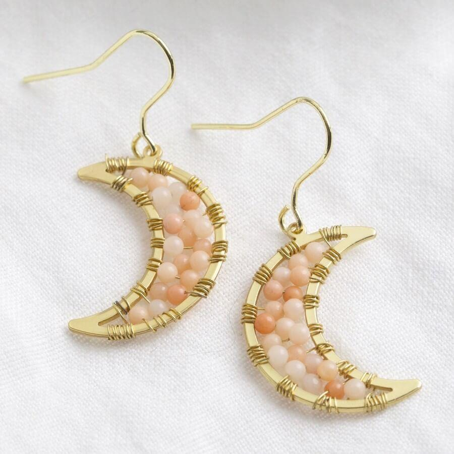 Moon Drop Earrings with Pink Beads