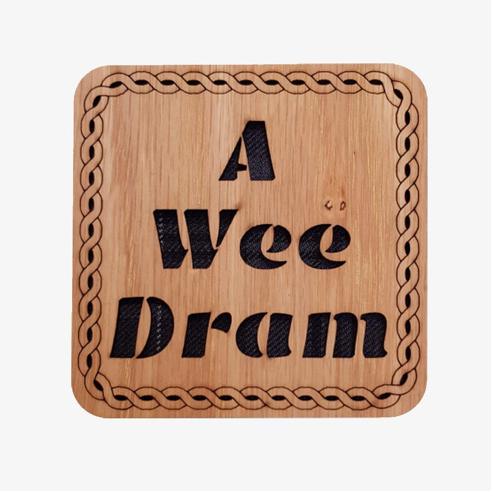 A Wee Dram Square Wooden Coaster