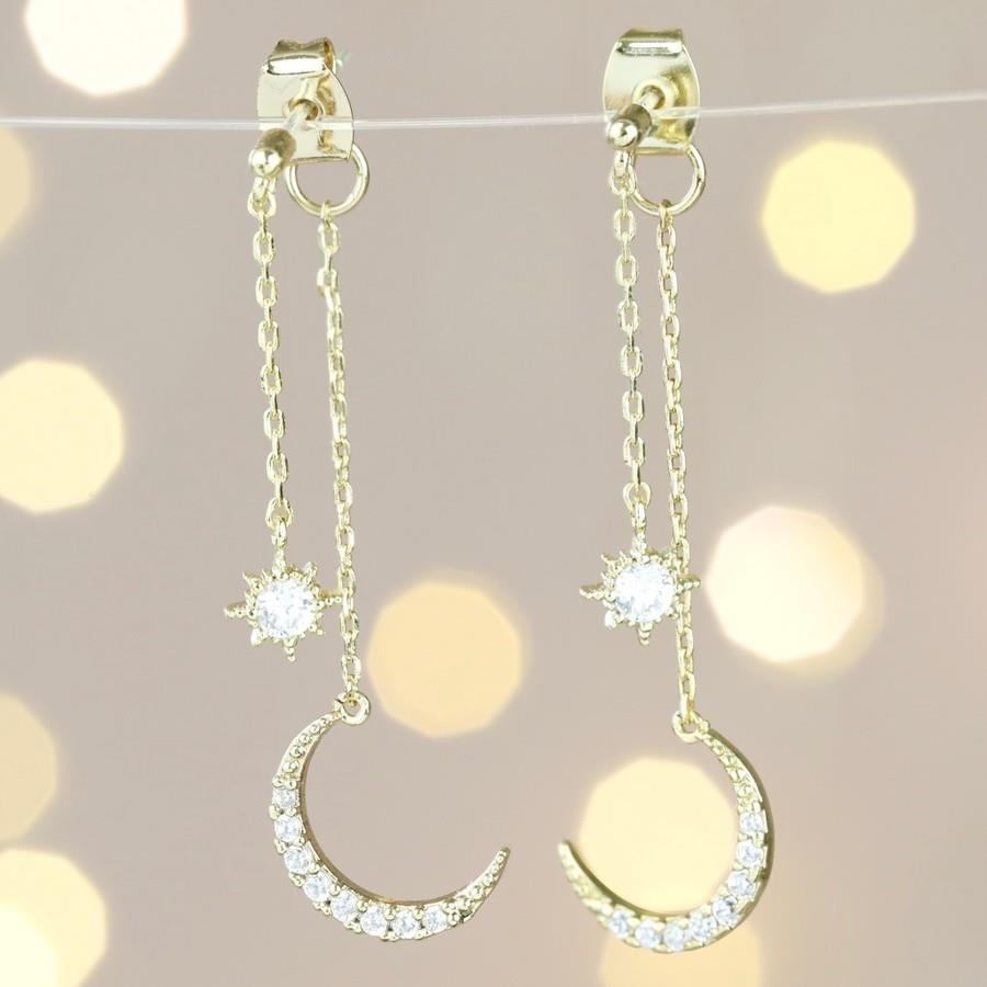 Crystal Star and Moon Double Drop Earrings In Gold