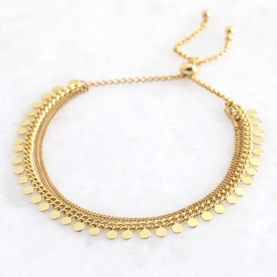 Gold Dotty Layer Toogle Back Bracelet
