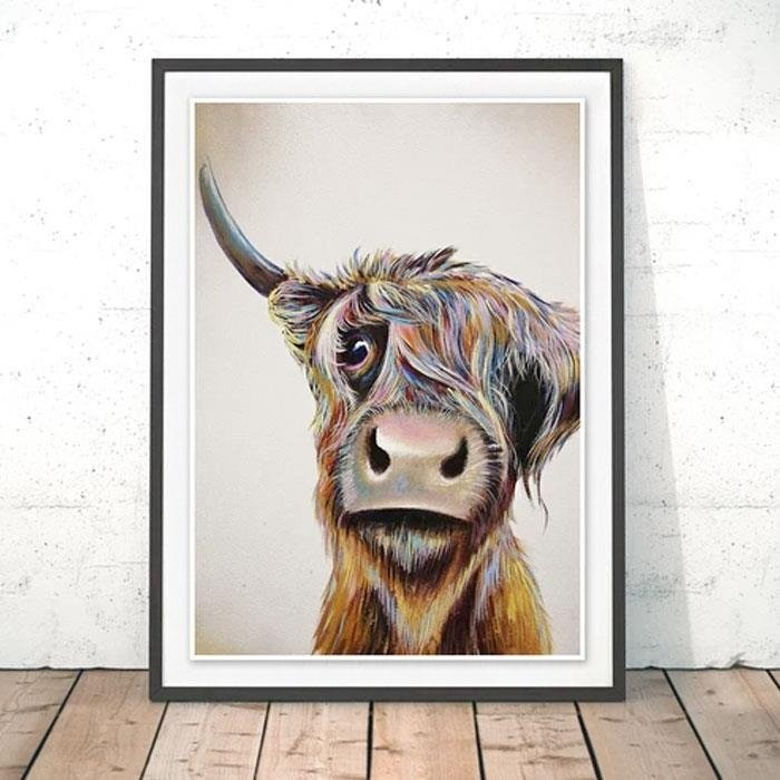 Bad Hair Day Cow A4 Print